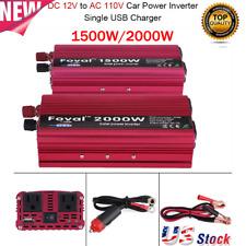 1500W / 2000W Car LED Power Inverter WATT DC12V to AC110V Converter US Standard
