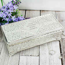 Personalised Engraved Luxury Antique Silver Plated Jewellery Box Gift for Her