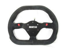 Sparco P310 Steering Wheel 310mm Black Suede Flat Dish w/Thumb Horn Buttons NEW