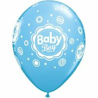 BABY SHOWER BABY BOY DOTS BLUE BALLOONS PARTY DECORATIONS PACK OF 10 LATEX 28CM