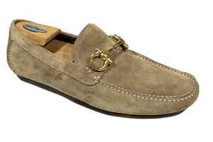 SALVATORE FERRAGAMO Gold Sand Brown Suede Mens Loafers Shoes 8 E