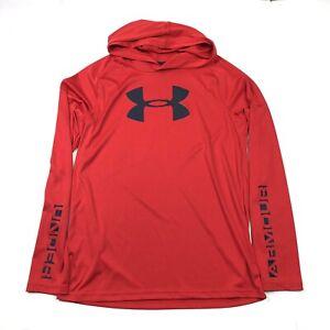 Under Armour Youth Boys XL Hoodie Red Heat Gear Lightweight Polyester Logo