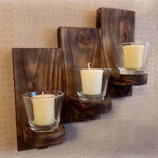Triple Tealight Candle Holder Wall Sconce Country Kitchen Style Rustic Wood