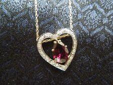 14K Yellow Gold Diamond Pear Shaped Nested Garnet Heart Pendant Necklace