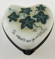 Hand Painted Limoges France Porcelain Flowers hinged trinket box Signed MC