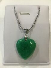 Chinese Style  Gift Green Heart Burma Jade Necklace Sterling Silver (JP81)