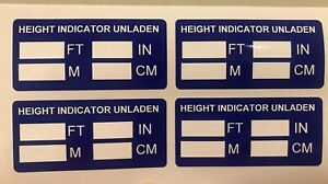 4 x HGV LGV Truck Lorry Vehicle Cab Height Legal Indicator Warning Stickers