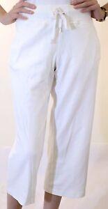 NWT Womens Lauren Active Ralph Petite L-RL White Cotton Pants Elegant Comfy