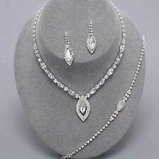Clear diamante necklace bracelet earring set rhinestone bridal bling prom party