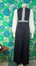 G67 Vintage 1970's SHUBETTE Maxi Dress High Neck Black Silver Party Size 8