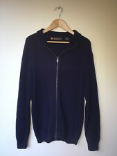 Ben Sherman Zip Up Sweater Jumper Knit Navy (Size M-L)