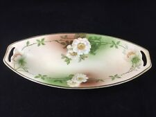 "Schoenwald PSAG Bavaria Hand Painted 12 1/8"" Oval Handled Bowl, signed Mauville"