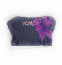 Voyage London Women's Bustier Corset Top XL Floral Appliques Boning Lined