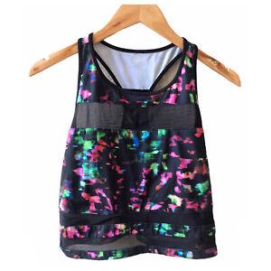 Fabletics Women Activewear Tank Top Black Multi Bright Pink Green Mesh Medium