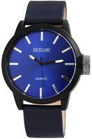 Excellanc Herrenuhr Blau Titan-Look Metall Kunst-Leder Armbanduhr X1900121004