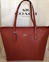 COACH F58846 Crossgrain Leather City Zip Top Tote SV/Bright Cardinal Handbag NWT