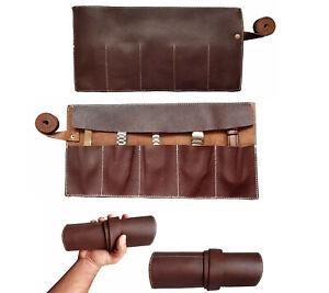 Full Grain Leather Natural Dark Brown 5 Pocket Watch Roll Travel & Storage Roll
