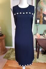 J CREW SHEATH DRESS TALL 16 NAVY, GROMMETS IN WHITE. NWT BLACK LABEL T 16