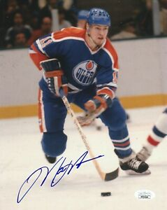 MARK MESSIER SIGNED EDMONTON OILERS 8X10 PHOTO W/PROOF JSA AUTHENTICATED