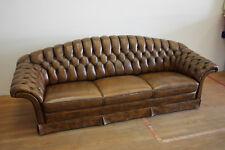 englisches Sofa Couch 3-Sitzer vintage Design Leder braun