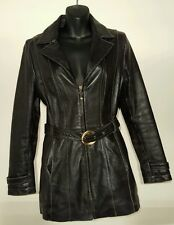Womens Wilson's Leather Jacket black Small S Pelle Studio genuine belt zip