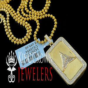 Genuine Diamond Mini Dog Tag Pendant Charm Chain Set 10K Gold Finish