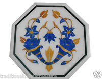 """12"""" White Marble Table Top Mosaic Inlaid Lapis Lazuli Handmade Home Decor Gifts"""