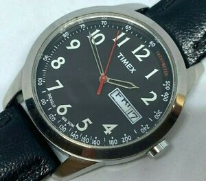 Timex Indiglo Men Silver Black Leather Analog Quartz Watch Hour~Date~New Battery