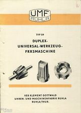 VEB Gottwald Uhrenfabrik Ruhla Duplex Werkzeugfräsmaschine Prospekt 1955 DDR