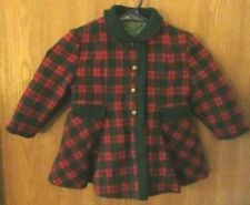 Bambury Fashion Vintage Girls Winter Swing Coat Red Green Hampton Plaid 50's
