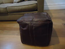 Moroccan Leather Ottoman Pouffe Pouf Footstool Coffee Table in Chocolate