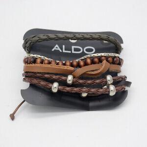 ALDO jewelry 5pcs leather bracelets stretch wood beads bangles set for women men