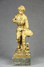 Bronzeskulptur Skulptur Bronze sign. SCHIEVELKAMP Straßenjunge Bettler mit Affe