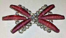 SALE!  4 Glitter Pink Grade A Rhinestone Crystal Interlock Buckle Button 71x36mm