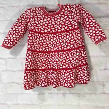 Hanna Andersson Girls Sweater Dress Red White Geometric Long Sleeve Cotton 90 3