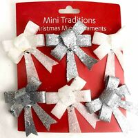 NEW Set 6 BOWS Christmas Ornaments Plastic Glitter Holiday Wreath Decoration Lot