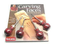 Enlow Carving Faces Workbook & 4pc Woodcarving Tool Set Customized for Ramelson
