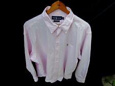 Ralph Lauren Men 17.5 Cotton Pink White Stripe Long Sleeve Boyfriend Shirt Top