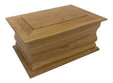 Superior Moulded Oak Cremation Ashes Casket (Wooden / Coffin / Urn / Adult Size)