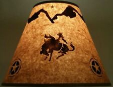 """RODEO RIDER LAMP SHADE RUSTIC PARCHMENT PAPER 12"""" CLIP ON WESTERN RANCH COWBOY"""