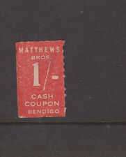 AUSTRALIA 1950s 1/- Red MATHEWS BROS COUPON- BENDIGO-Cinderella-FU