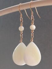 Beautiful Teardrop & Round Mother of Pearl 14ct Rolled Gold Drop Earrings