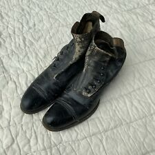 Antique Victorian Women'S Black Leather, Lace Up, High Top, Boots/Shoe
