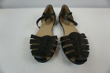 Easy Spirit e360 Black Leather Closed Toe D'Orsay Flats Ankle Strap 10M