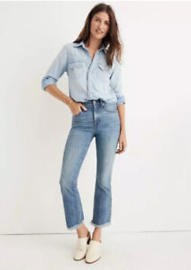 NWT Madewell Cali Demi Boot Jeans in Comfort Stretch Eco Edition J8758 23 Frayed