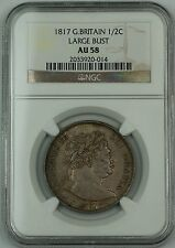 1817 Great Britain 1/2C Crown Large Bust Silver Coin George III NGC AU-58 AKR