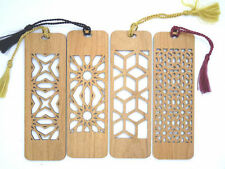 4 Custom Engraved Wooden Bookmarks - All Four Cutouts  (FREE SHIPPING)