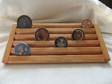 Military Challenge/Coin/Chips Wood Display Holder 5 Tier-->Maple Stained