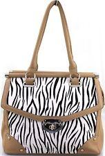 Onorevoli Donne Zebra Print in pelle stile pelliccia cornice Tote Messenger Shoulder Handbag