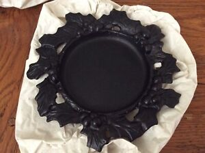 New Yankee Candle Jar Plate Metal Holly Berry Wreath Christmas Bows Berries